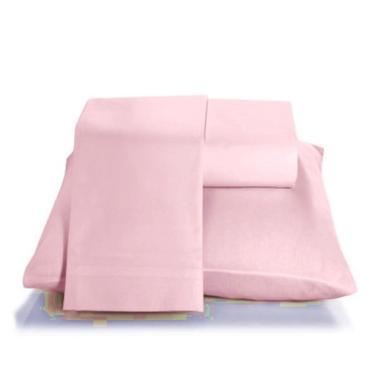 Imagem de Jogo de lençol solteiro 3 peças 200 fios - rosa LE