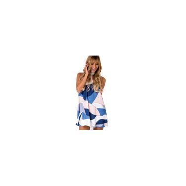 Vestido sem mangas Partido Mulheres curto Estilo vestido exclusivo geométrica Impresso