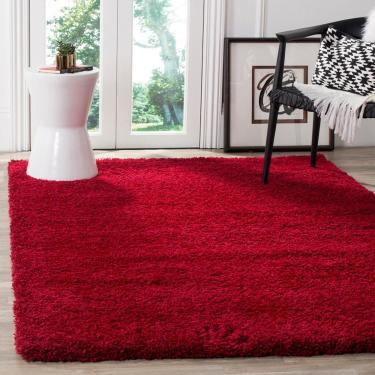 Tapete para Sala e Quarto Peludo Luxo Casa Dona 100x150cm Vermelho  unissex