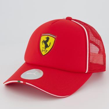 Boné Puma Ferrari Fanwear Trucker Vermelho