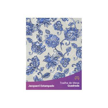 Imagem de Toalha De Mesa Quadrada Em Tecido Jacquard Estampado Floral Azul