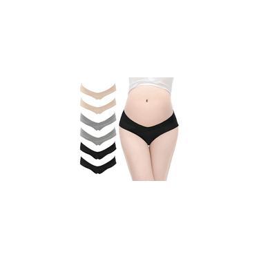 6 pc Calcinha de maternidade cintura baixa em forma de V de algodão calcinha para gravidez pós-parto