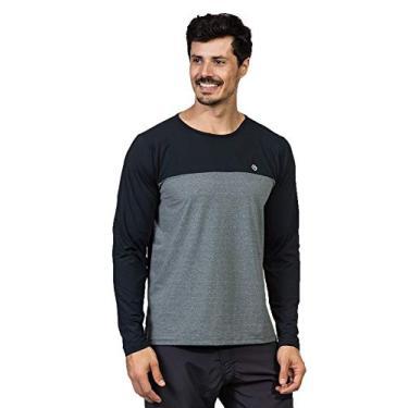 Imagem de Camisa UV Masculina Cinza Mescla Ice Proteção Solar Recorte no Peito Manga Longa