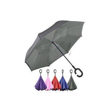 Guarda-chuva Sombrinha Invertido Cinza Dupla Face - Panosul