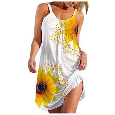 Imagem de Vestidos de verão para mulheres, bandeira americana, sexy, sem mangas, boho, floral, frente única, vestido de verão casual curto, #A-06 branco, XXG