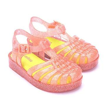 Sandália Mini Melissa Possession BB Glitter Coral Tamanho do calçado:17-18