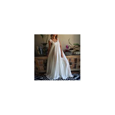 Imagem de Zanzea Women's Vestido longo sem mangas casual transparente M-5XL Branco M
