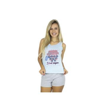 Kit 10 Pijama Curto Adulto Feminino Estampado Shortdoll Cinza Noite Mvb Modas