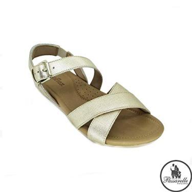Sandália Feminina Usaflex Confort em Couro 7005 - Cinza Claro