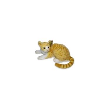 Imagem de Gato De Pelucia Deitado Realista Amarelo Tigrado Listrado