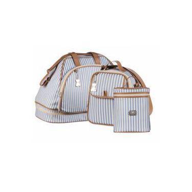 232d71176 Bolsa maternidade Cool 200 azul kit 03 peças sacola + frasqueira + porta  mamadeira - Momole