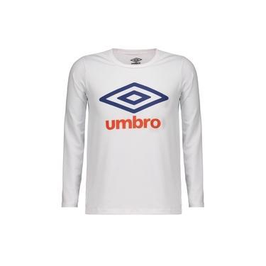 Camiseta Umbro Basic UV Manga Longa Juvenil Branca