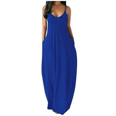 Shakumy Vestido feminino casual de verão floral boêmio, sem mangas, vestido longo de praia, vestido solto de festa, túnica rodado, Z4 - azul, 4XL
