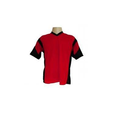 Jogo de Camisa Promocional com 18 Peças Numeradas Modelo Attack Vermelho  Preto - Frete Grátis Brasil Kanga sport 66f54d63437af