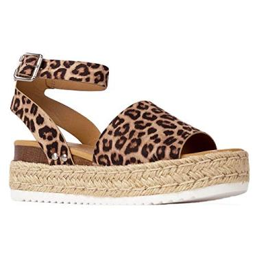 Sandália J. Adams Blair Espadrille – Sandália de palha plataforma bico aberto tira no tornozelo, Cheetah, 8.5