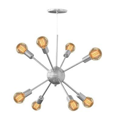 Lustre Pendente Moderno Sputnik Para 8 Lâmpadas Prata