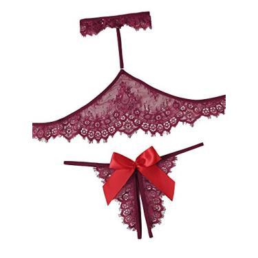 Conjunto de lingerie feminina lilosy sexy transparente sutiã transparente e calcinha 2 peças, Choker-burgundy, X-Large