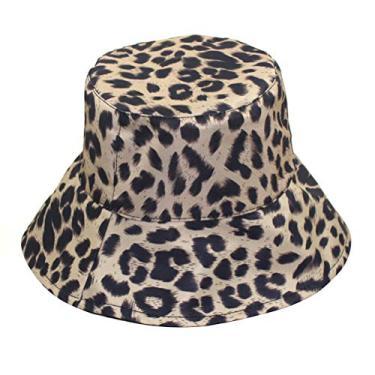 Chapéu de sol de praia reversível chapéu de sol chapéu de pescador com estampa de leopardo, chapéu de pescador com proteção solar para combinar com todos os chapéus retrô (bege)