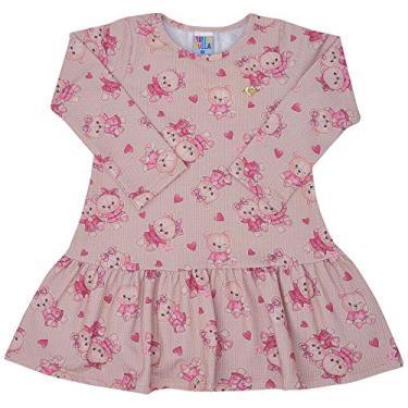 Vestido Manga Longa Sublimado Caqui - Primeiros Passos - Menina Molecotton 45313-1171 Vestido Bege - Primeiros Passos Menina Molecotton Ref:45313-1171-1