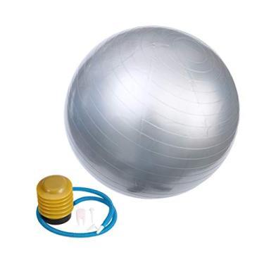 Imagem de Garneck 1 conjunto de bola de exercícios de PVC profissional anti-explosão bola de ioga extra grossa com bomba rápida para parto, academia, pilates (75 cm prata)