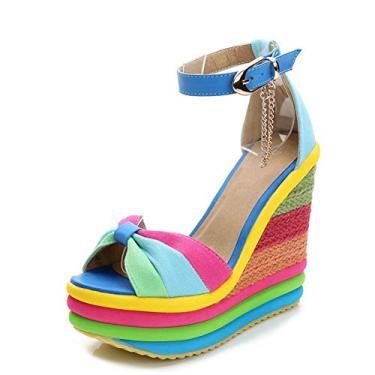 Sandálias Saralris femininas gladiador tira no tornozelo salto alto plataforma sapatos sandálias anabela arco-íris para mulheres, Azul, 6