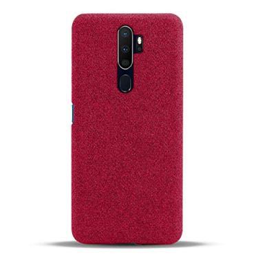 Hicaseer Capa para Oppo A9 (2020), capa traseira de policarbonato rígido de poliuretano, capa de celular para smartphone em tela à prova de choque, capa bumper para Oppo A9 (2020) 6,5 polegadas - vermelha