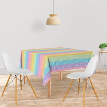 Imagem de Toalha De Mesa Quadrada Tecido Oxford Listras Coloridas Tl71 - 140X140