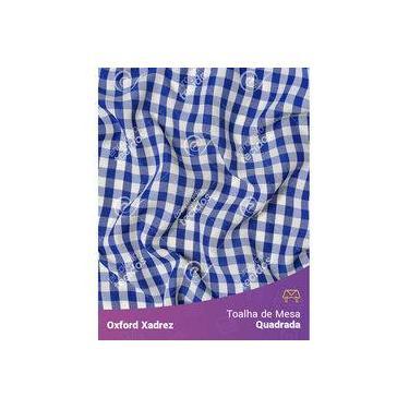 Imagem de Toalha De Mesa Quadrada Em Oxford Xadrez Azul Royal