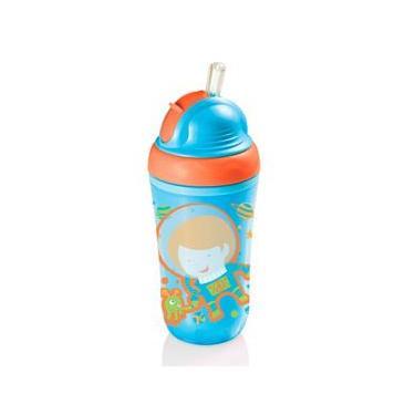 Copo Térmico com Canudo de Silicone Cool Baby BB034 Azul - Multikids