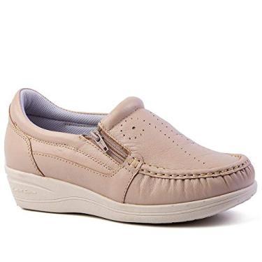 Mocassim Feminino Anabela 200 em Couro Ostra Doctor Shoes-Bege-39
