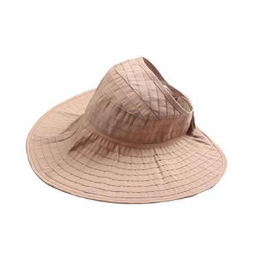 Boné feminino com proteção UV e abertura dobrável para praia (Cáqui)