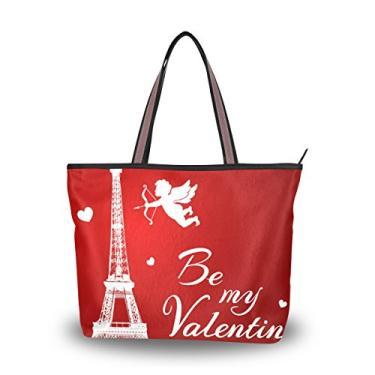 Bolsa de mão Cooper girl Be My Valentine Torre Eiffel, alça superior, bolsa de ombro, grande capacidade, Multicolorido., Large