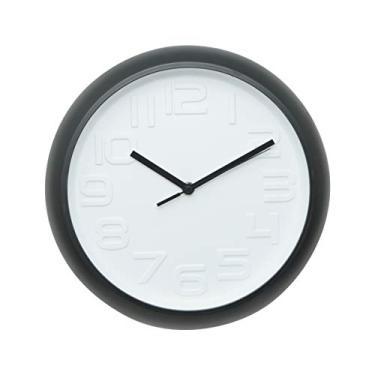 da7c6a57c18 Relógio de Parede Plástico Embossed Numbers Urban Branco Preto
