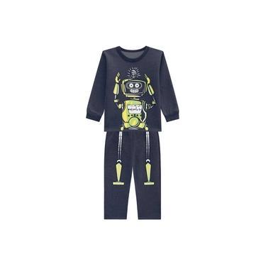 Pijama Infantil Menino Blusão E Calça Moletom Cinza-2