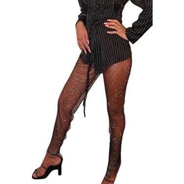 Calça legging feminina sexy de verão UUYUK, Preto, One Size