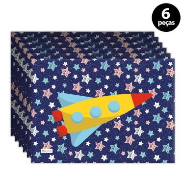 Imagem de Jogo Americano Mdecore Foguete Azul Marinho 6pçs