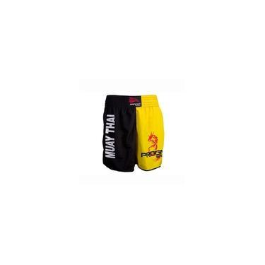 Short Muay Thai Masculino - Preto Com Amarelo - Gg