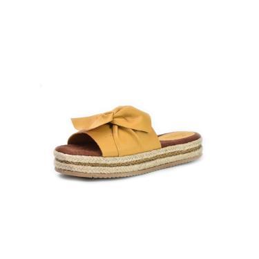 Sandália Flatform Scarpan Calçados Finos em couro Amarelo  feminino
