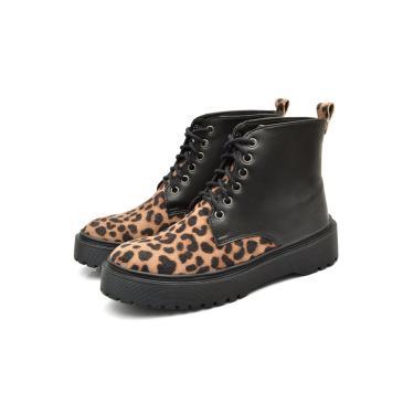 Imagem de Bota Coturno Casual Urbano Conforto Feminina JL Shoes Onça e Preto  feminino