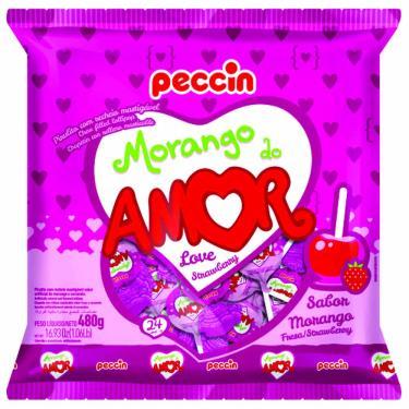Pirulito Morango do Amor 480g Peccin 997295