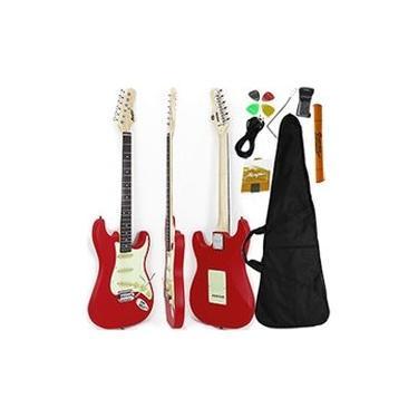 Imagem de Guitarra Stratocaster Vermelha Fosca Memphis by Tagima MG 30 BKS + Acessórios