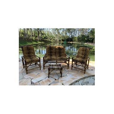 Conjunto Sofá De Área Bambu 4 Lugares De Fabricação Artesanal - 1 Sofá + 2 Cadeiras + 1 Mesa