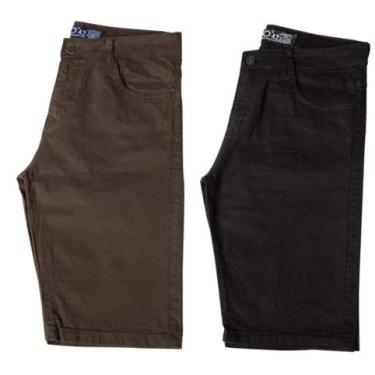 Kit c/ 2 Bermudas Masculinas Jeans e Sarja Coloridas com Lycra - Verde e Preta - 42