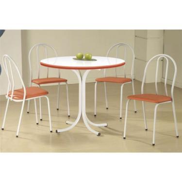 Imagem de Conjunto de Mesa com 4 Cadeiras Leila Branco e laranja