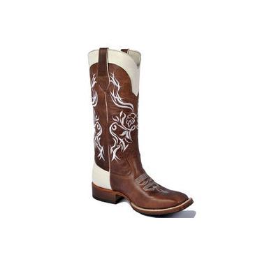 Bota Texana Feminina Cano Longo Bordado Bico Quadrado Fóssil Sela