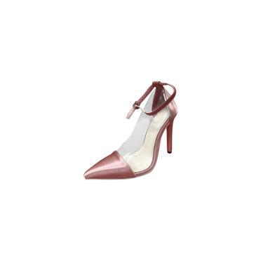 Imagem de Sandálias pontudas femininas com tira no tornozelo bombas de salto alto sandálias de salto agulha sapatos de festa cool29257