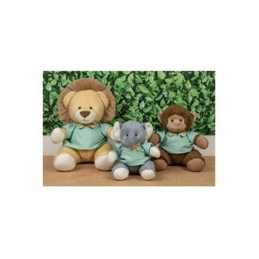 Imagem de Kit 3 Pcs Trio Safari Pelúcia Misto Elefante, Macaco E Leão