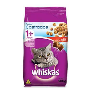 Ração Whiskas Carne Para Gatos Adultos Castrados 500 g Whiskas para Todas Todos os tamanhos de raça Adulto - Sabor Carne