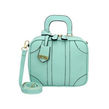 Bolsa Pequena Transversal Quadrada Selten Verde Água  feminino