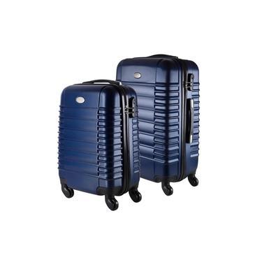 Imagem de Conjunto de Malas de Viagem em ABS Yins 21046 Cadeado Integrado Rodas 360º 2Pcs P/M Azul